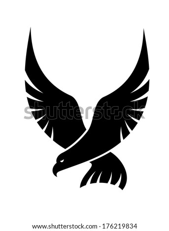 Black and white cartoon swooping falcon logo with outspread wings coming in to catch its prey, isolated on white - stock vector