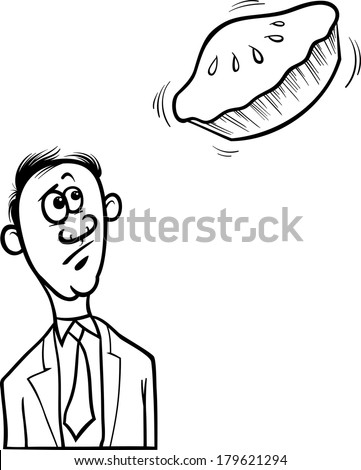 Black and White Cartoon Vector Humor Concept Illustration of Pie in the Sky Saying or Proverb for Coloring Book - stock vector