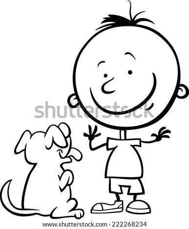 Black and White Cartoon Vector Illustration of Cute Little Boy with Dog or Puppy for Coloring Book