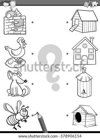 Black and White Cartoon Vector Illustration of Education Element Matching Task for Preschool Children with Animals Coloring Book
