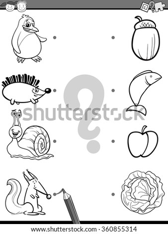 Black and White Cartoon Vector Illustration of Education Picture Matching Game for Preschool Children with Animals and their Favorite Food for Coloring Book - stock vector