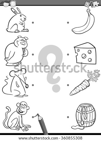 Black and White Cartoon Vector Illustration of Education Picture Matching Task for Preschool Children with Animals and their Favorite Food for Coloring Book - stock vector