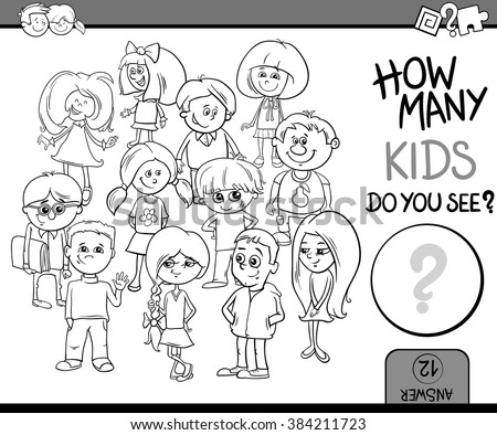 Black and White Cartoon Vector Illustration of Educational Counting or Calculating Task for Preschool Children with Kid Characters Coloring Book