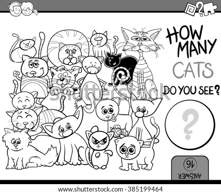 Black and White Cartoon Vector Illustration of Educational Counting Task for Preschool Children with Cats Animal Characters Coloring Book - stock vector