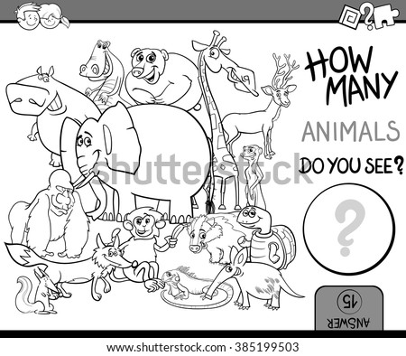 Black and White Cartoon Vector Illustration of Educational Counting Task for Preschool Children with Wildlife Animal Characters Coloring Book