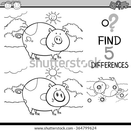 Black and White Cartoon Vector Illustration of Finding Differences Educational Task for Preschool Children with Pig Farm Animal Character for Coloring Book - stock vector