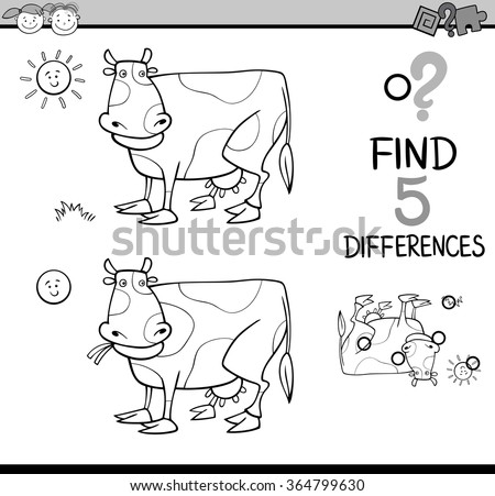 Black and White Cartoon Vector Illustration of Finding Differences Educational Task for Preschool Children with Cow Farm Animal Character Coloring Book - stock vector