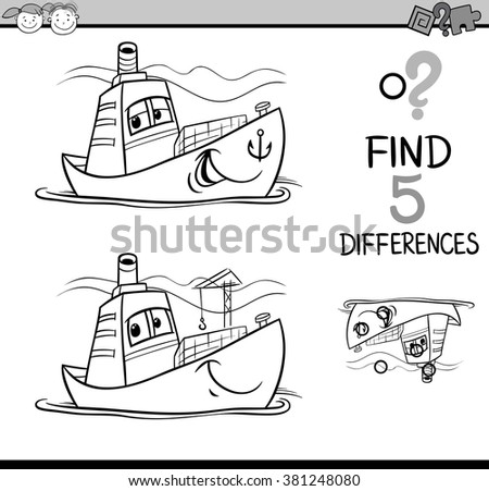 Black and White Cartoon Vector Illustration of Finding Differences Educational Task for Preschool Children with Container Ship Transport Character for Coloring Book - stock vector