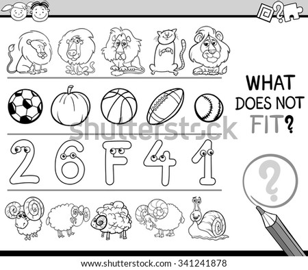 Black and White Cartoon Vector Illustration of Finding Improper Item in the Row Educational Game for Preschool Children with Animal Characters - stock vector