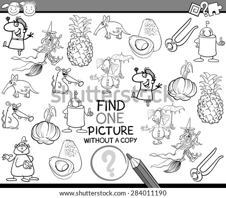 Black and White Cartoon Vector Illustration of Finding Single Picture without Copy Educational Game for Preschool Children
