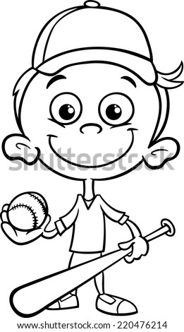 Black and White Cartoon Vector Illustration of Funny Boy Baseball Player with Bat and Ball for Coloring Book - stock vector