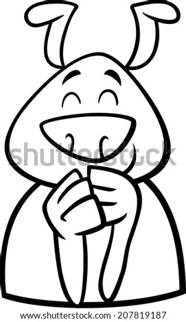 Black and White Cartoon Vector Illustration of Funny Dog Expressing Cheerful Mood or Emotion for Coloring Book