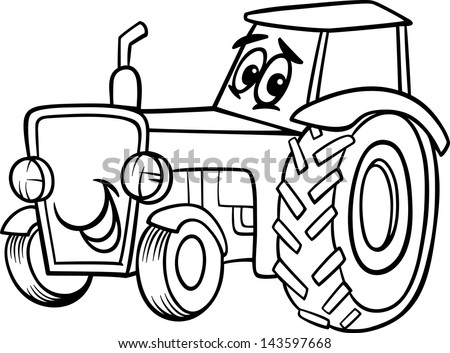 black and white cartoon vector illustration of funny farm tractor vehicle comic mascot character for children