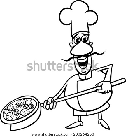 Black and white cartoon vector illustration of funny for Italian food coloring pages