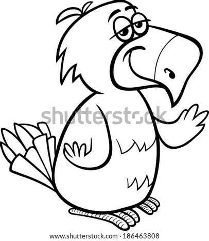 Black and White Cartoon Vector Illustration of Funny Parrot Bird Character for Coloring Book - stock vector