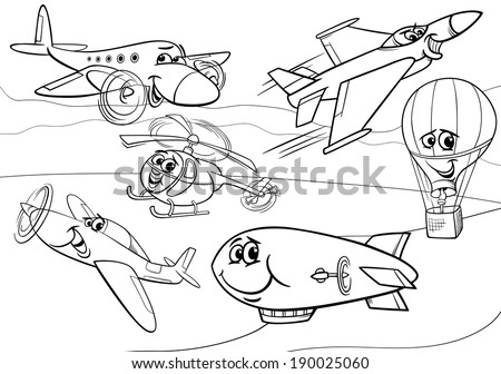 Black and White Cartoon Vector Illustration of Funny Planes and Aircraft Characters Group for Coloring Book - stock vector