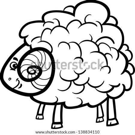 Black and White Cartoon Vector Illustration of Funny Ram Farm Animal for Coloring Book