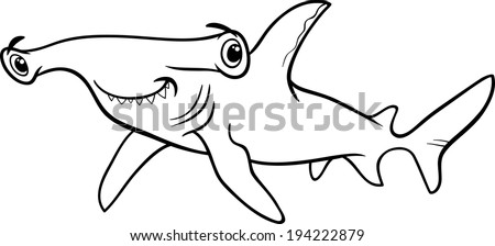 Black and White Cartoon Vector Illustration of Hammerhead Shark Fish Sea Life Animal for Coloring Book
