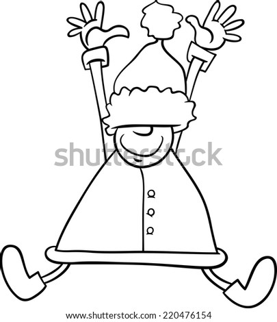 Black and White Cartoon Vector Illustration of Happy Jumping Santa Claus or Elf Character for Coloring Book - stock vector