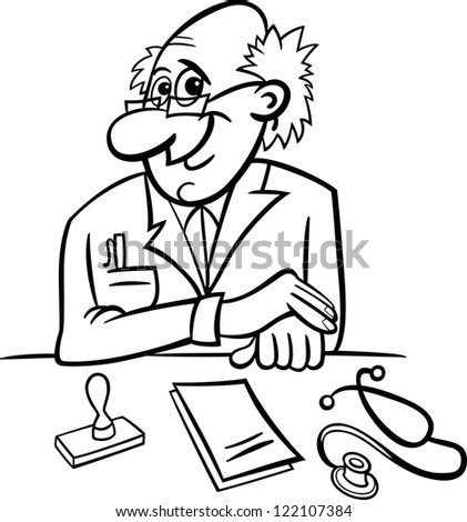 Black and White Cartoon Vector Illustration of Male Medical Doctor in Clinic Consulting Room with Stethoscope and Prescriptions - stock vector