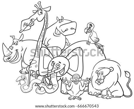 Black White Cartoon Vector Illustration Safari Stock Vector ...