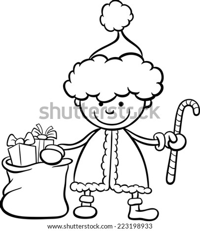 Black and White Cartoon Vector Illustration of Santa Claus Boy Character with Christmas Cane and Bag of Presents for Coloring Book
