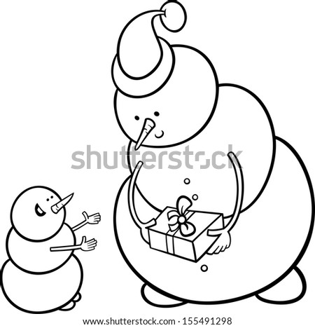 Black and White Cartoon Vector Illustration of Snowman as Santa Claus Character giving Christmas Present or Gift to Little One for Coloring Book - stock vector