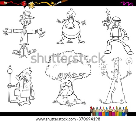 Black and White Cartoon Vector Illustrations of Fairy Tale or Fantasy Characters Set for Coloring Book - stock vector