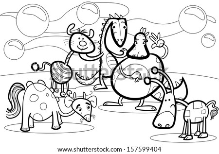 Black and White Cartoon Vector Illustrations of Fantasy Creatures Comic Mascot Characters Group for Children for Coloring Book - stock vector