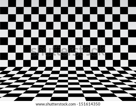 Black and white checker. 3d rendered image  - stock vector