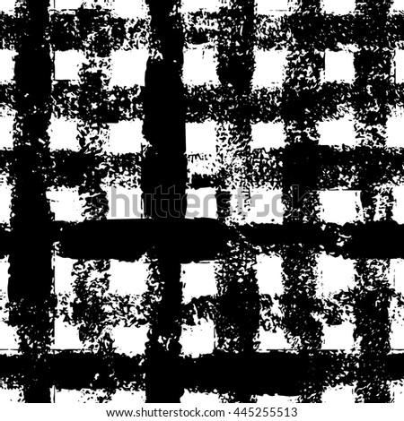 Black and white checkered gingham ink painted grunge seamless pattern, vector
