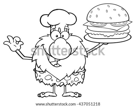 Black And White Chef Male Caveman Cartoon Mascot Character Holding A Big Burger And Gesturing Ok. Vector Illustration Isolated On White Background - stock vector