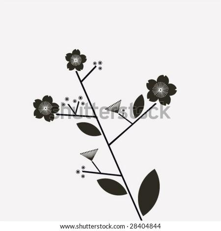 Black And White Cherry Blossom Vector Black And White Cherry Blossom
