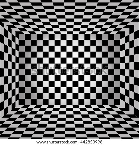 Black and white chessboard walls room background vector eps 10 - stock vector