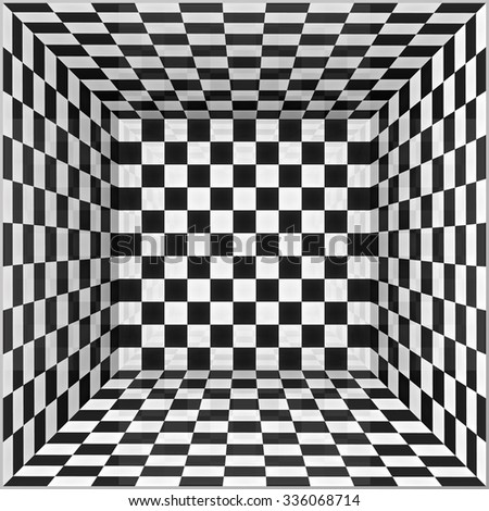 Black and white chessboard walls vector room background - stock vector
