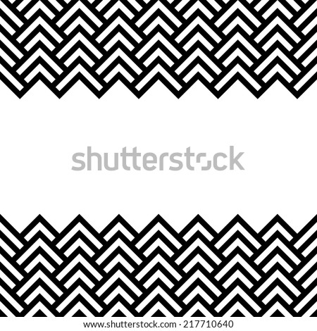 Black and white chevron geometric horizontal border frame background vector