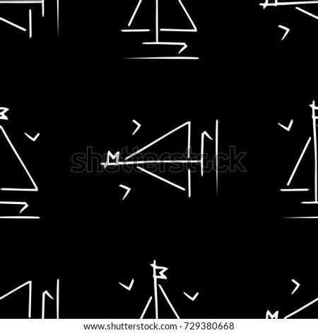 Black and white childish pattern with yacht silhouette. Light summer travel adventure pattern. Marine icon. Infinitely repeating motif. Retro yacht, ship, sailboat, boat transport pattern.
