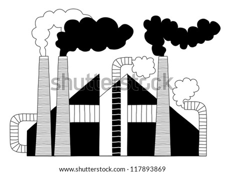 Black and White Chimneys of a Factory Producing Harmful Steam - Vector Illustration