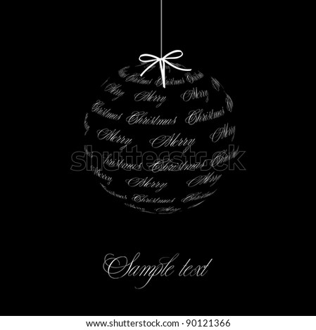 Black and White Christmas ball illustration