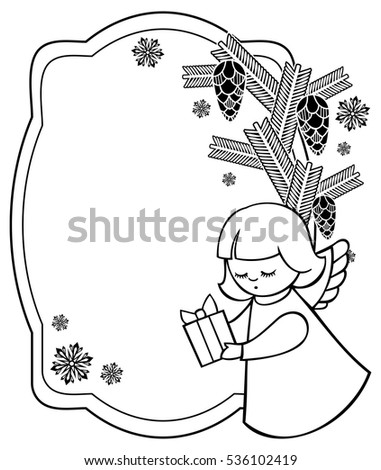 Black And White Christmas Frame With Cute Angels Copy Space Holiday Background
