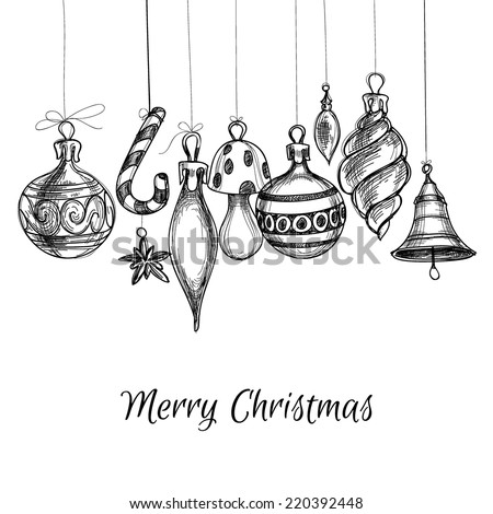 Black and white Christmas hand drawn ornaments - stock vector