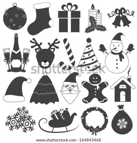 Black and White Christmas Icons Vector Set - stock vector