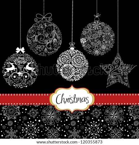 Black White Christmas Ornaments Card Template Stock Vector - Christmas card templates black and white