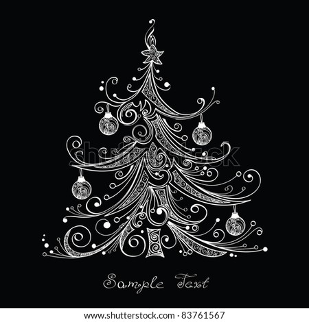 Black and white Christmas tree vector illustration - stock vector