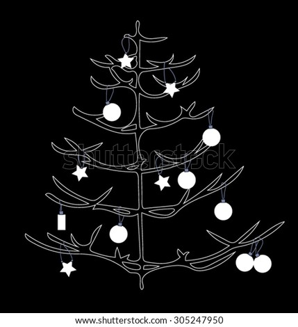 Black and white Christmas tree with decoration - stock vector
