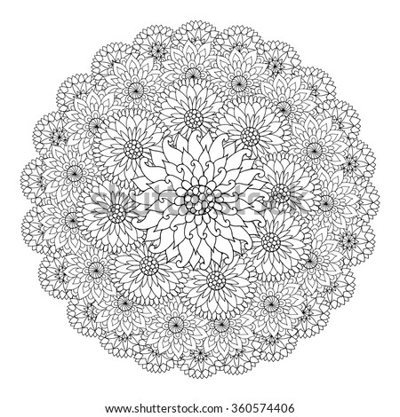 Black White Circle Floral Ornament Round Stock Vector ...