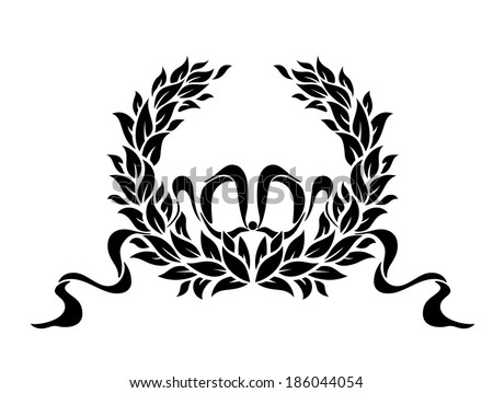 Black and white circular foliate wreath with ornamental swirling ribbons for vintage heraldry design - stock vector