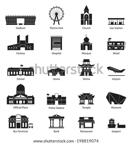 Black and White City Building Icon Set - stock vector