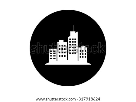Black and white city icon on white background