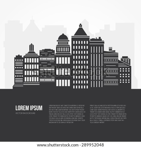 Black and white city scene with different office buildings made in vector. Skyscraper collection with place for your text. Flyer or banner template with modern line style town graphic. - stock vector